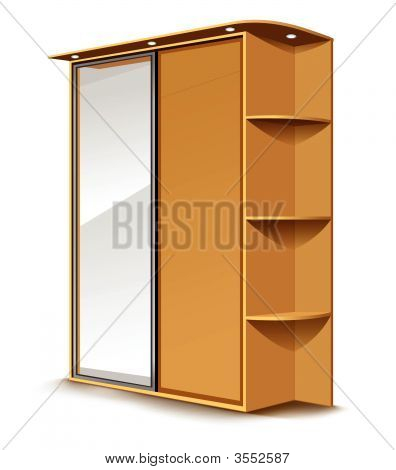 Vector Wooden Wardrobe With Mirrow And Shelfs Isolated