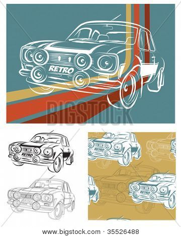 Retro Seventies Car Vector Seamless pattern and icons.  Great for wallpaper, T-shirt designs and digital paper.