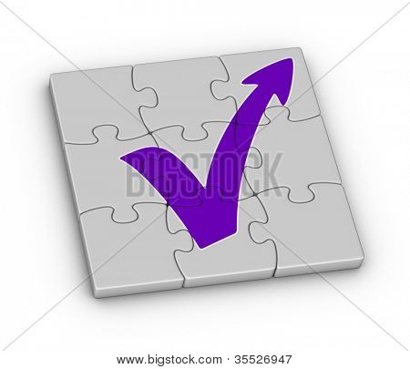 Red check mark with arrow on jigsaw puzzle