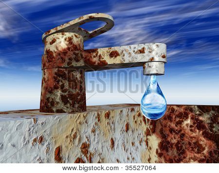 High resolution concept or conceptual vintage old rusted metal tap with a fresh water or liquid drop falling over a blue sky background as metaphor for environment,loss,save,nature,waste or preserve
