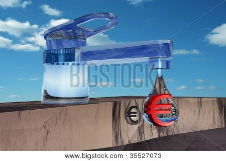 High resolution concept or conceptual abstract tap with a drop falling over blue sky background as a metaphor for money,euro,crisis,finance,economy,waste,banking,business, loss,source,wealth or rich
