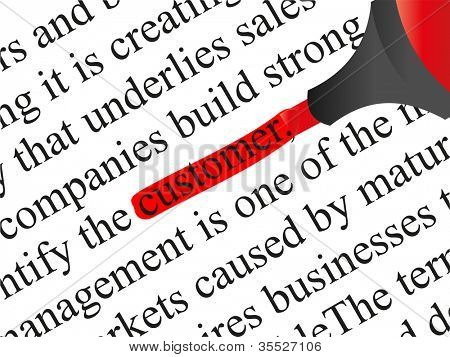 High resolution concept or conceptual abstract black text isolated on white paper background with a red marker as a metaphor for customer,target,marketing,client,service,strategy,business or consumer