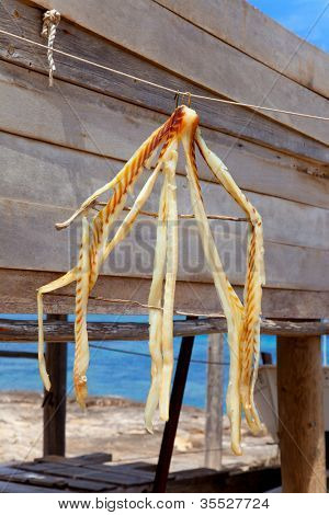 dried fish peix sec typical food in Mediterranean Balearic islans at Formentera