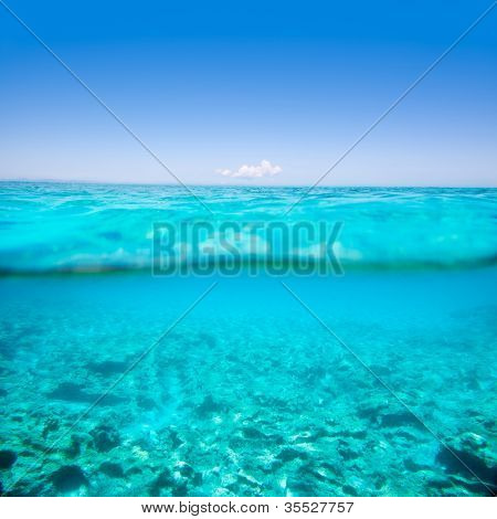 Belearic islands turquoise sea under over in out waterline tropical beach