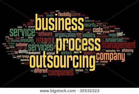 Conceito de terceirização de processo de negócio em nuvem de Tags palavra sobre fundo preto