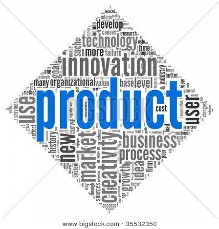 Conceito de produto e criatividade relacionados com palavras em nuvem de forma de diamante no fundo branco
