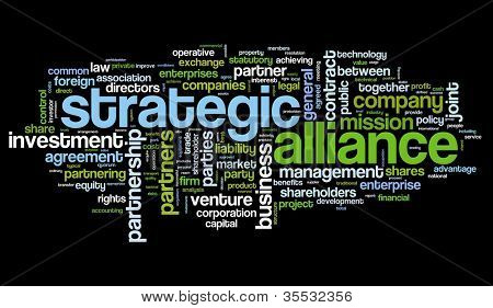Strategic alliance concept in tag cloud on black