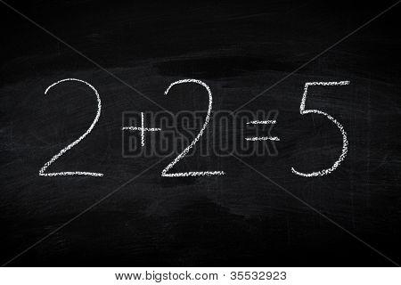 Mistake in math formula on chalkboard - education concept illustrated on blackboard