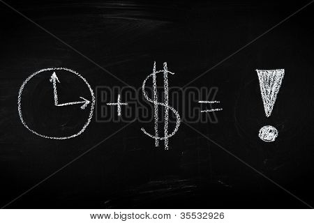 Money and time is success equation - concept illustrated on chalkboard