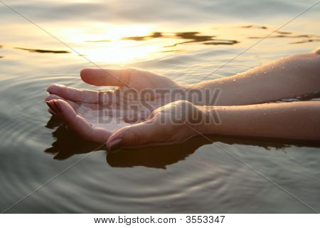 Woman Hands In Water