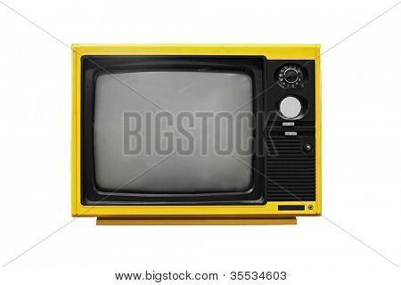 Vintage Yellow TV isolated on white background