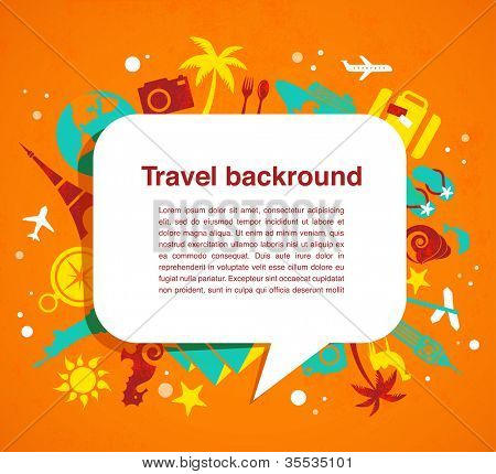 Travel background with speech bubble