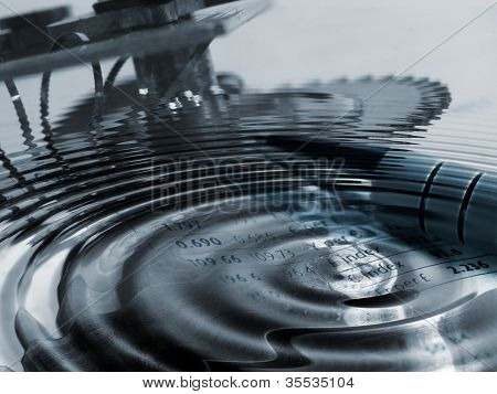 Concept illustration showing clockwork parts with water ripples overlaid with currency figures.