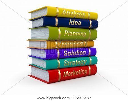 Business training. Economic books on white background. 3d