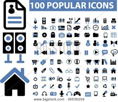 100 popular media icons set, vector
