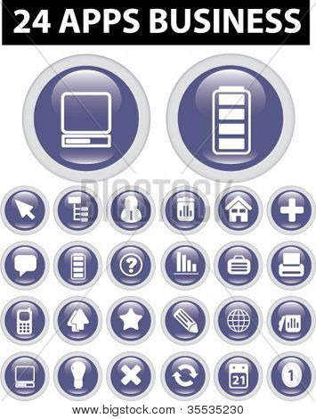 24 apps business icons set, vector