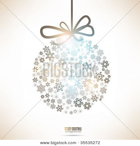 Christmas ball made from snowflakes. Christmas background