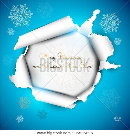 Elegant Christmas background with snowflakes and place for text. Torn paper