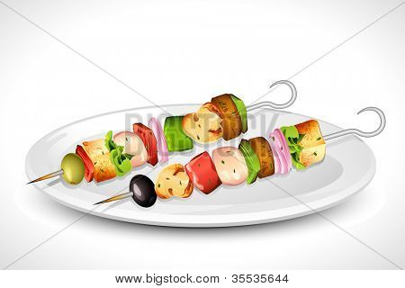 illustration of roasted vegetable and mushroom in grilled skewer