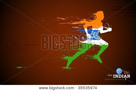 illustration of runner in grungy Indian tricolor