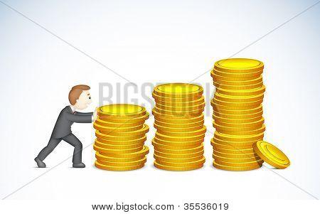 ilustração do homem de negócios, empurrando o gráfico de barras de moeda