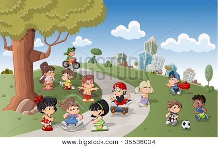 Cute happy cartoon kids playing in green park