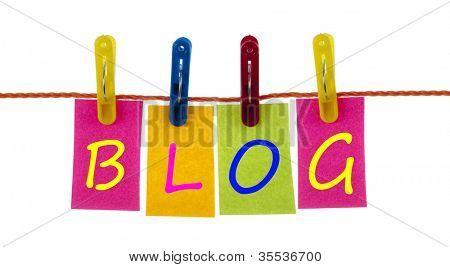 Blog word on laundry hook on white