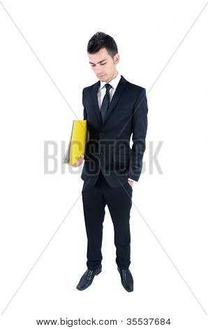 Isolated young business man with folder