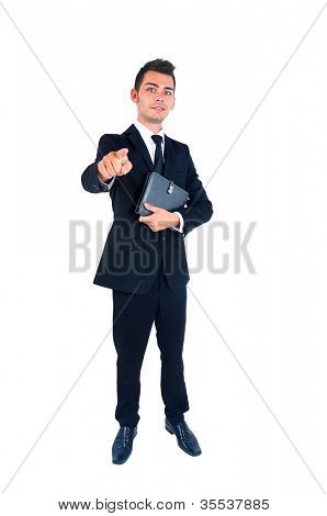 Isolated young business man pointing