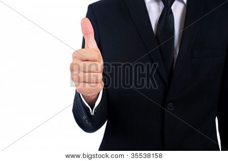 Isolated young business man approval
