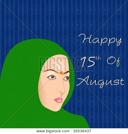 Indian Independence Day background with Indian women. EPS 10.
