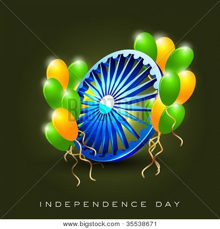 Indian Flag color concept with 3D Asoka wheel and balloon. EPS 10.