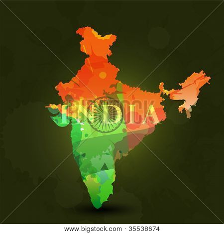 Republic of India map in Indian Flag color. EPS 10.