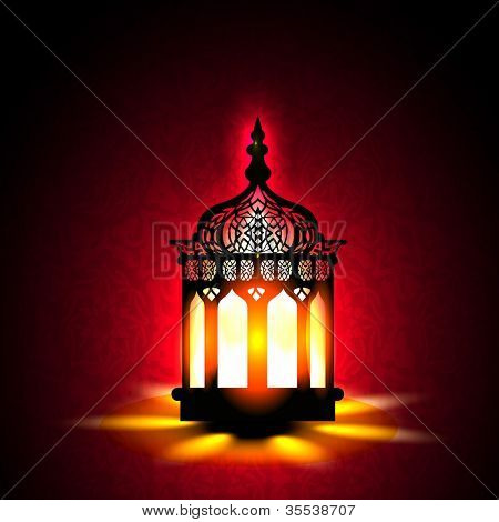 Intricate Arabic lamp with lights for Ramadan Kareem and other events. EPS 10.