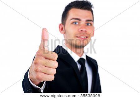 Business man show stop sign