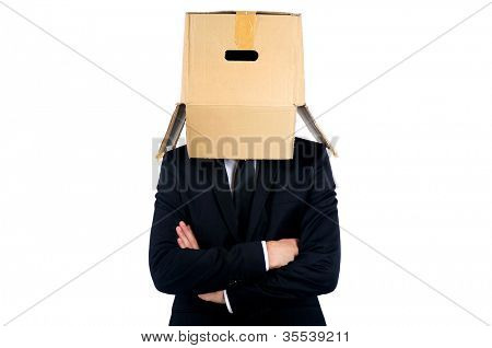 Business man with box on head