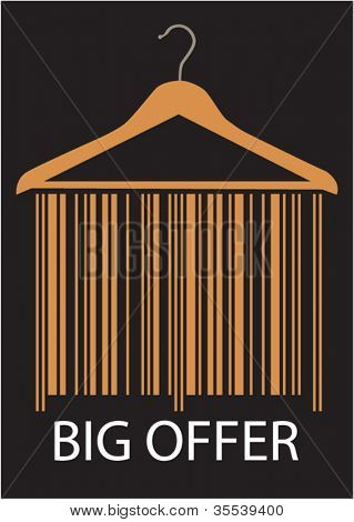 Big Offer barcode clothes hanger, Isolated over background.