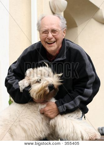 Laughing Old Man And His Dog