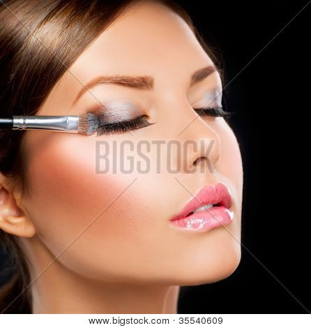 Eyes Makeup.Make-up.Eyes shadows. Eye shadow brush