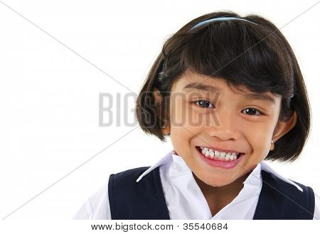 Head shot portrait of Southeast Asian primary school student over white background