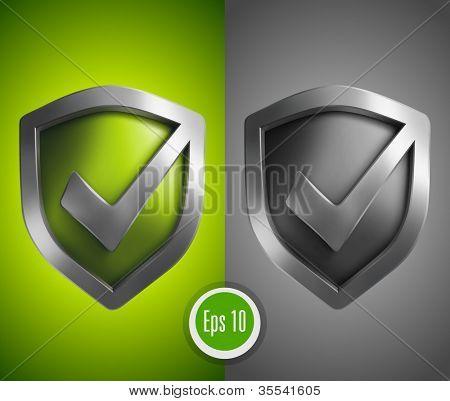 接受绿色盾牌图标 库存矢量图和库存照片 | bigstock