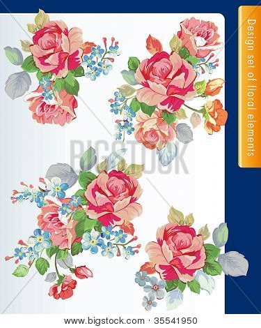 Beautiful isolated flowers on the white background. Set of different beautiful floral design elements.