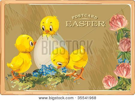 Easter eggs with chicken on fresh green grass. Vintage greeting card with chicks with Easter egg. Detailed vector illustration. Abstract Elegance background.