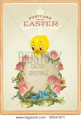 Hatched chicken and eggs in the grass. Vintage Easter greeting card with chicks with Easter egg. Abstract vector illustration.