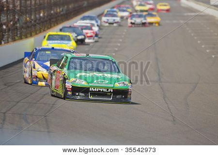 INDIANPOLIS, IN - JUL 29, 2012:  Dale Earnhardt, Jr. (88) brings his car down the front stretch during the Curtiss Shaver race at the Indianapolis Motor Speedway in Indianapolis, IN on 29 Jul, 2012.