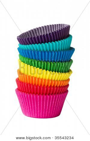 Stack of colorful cupcake cases