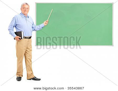 Full length portrait of a male teacher holding a wand and green school board isolated on white background