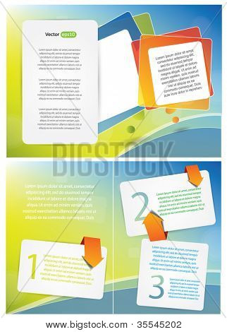 Fun brochure design with colorful bubbles and cards for text