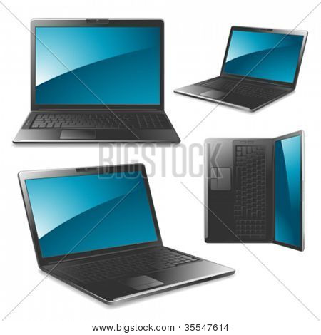 Laptop vector illustrations - front, left, right, top view.