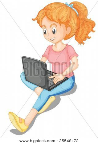 illustration of a girl and laptop on a white